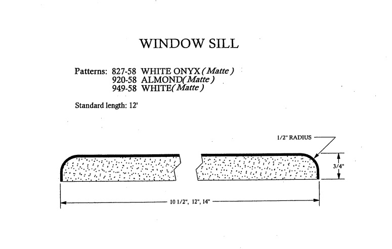 Postform Window Sill Specs