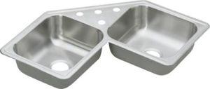 "Dayton (DE-217324) - 6"" deep Stainless Steel Corner Sink"